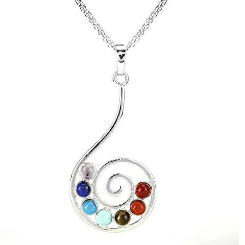 BEADNOVA 7 Chakras Healing Pointed Crystal Chakra Reiki Musical Symbol Gemstones Pendent Necklace Stainless Steel Chain 18