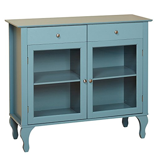 Buffet Furniture Antique (Target Marketing Systems Layla Collection Modern Antique Style Two Drawer, Two Cabinet Two Shelf Buffet With Tempered Glass, Blue)