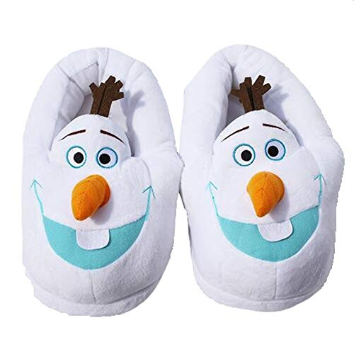 Happy Sky Snowman Home Warm Winter Indoor Olaf Plush Slippers Free Size Cute Soft Snowman Sneakers for Kids, 4.33 x11.02 inch, White ()