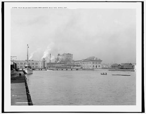 INFINITE PHOTOGRAPHS Photo: Pulp Mills,Algoma Iron Works,Industrial,Paper,Sault Stephen Marie,Ontario,c1902