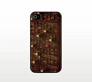 Books iPhone 4 4s Case - Cool Black Plastic Snap-On Cover - Library Design