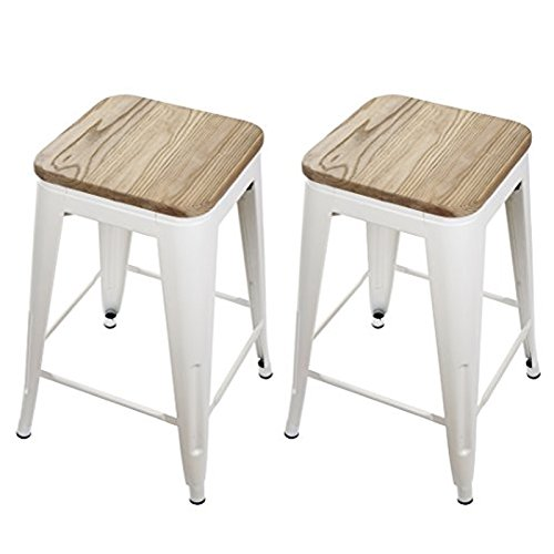 GIA Cream White 24'' Metal Stool with Wooden Seat(Set of 2) - Counter Height Square Backless - Tolix Style - Weight Capacity of 300+ Pounds - Ready to use - Extra Durable and Stackable by GIA