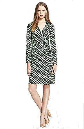 Diane von Furstenberg New Jeanne Two Wrap Silk Dress in SPRING DOTS GREEN