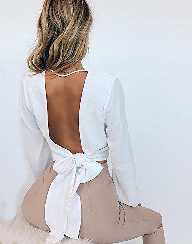 Mousseline T Hauts Shirt de Nu V Soie Solide Tops Blanc Sexy Dos Chic Femme Chemisier Mode Minetom Clubwear t Blouse Parti Crop Col Bowknot awqxUY8zSX