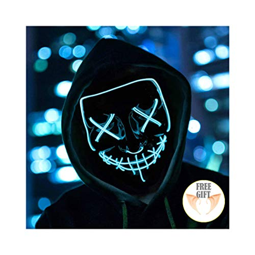 Halloween Mask Light up Mask Cosplay LED Mask Frightening Purge Mask for Festival Cosplay Halloween Parties Costume (Ice -