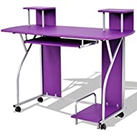 Rolling Computer Desk with Pull Out Tray - Purple