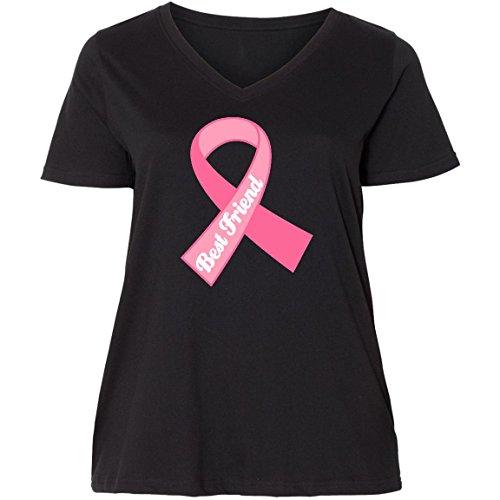 inktastic - Best Friend Pink Ribbon Ladies Curvy V-Neck Tee 2 (18/20) Black ddbd