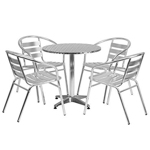 Flash Furniture 27.5'' Round Aluminum Indoor-Outdoor Table Set with 4 Slat Back Chairs