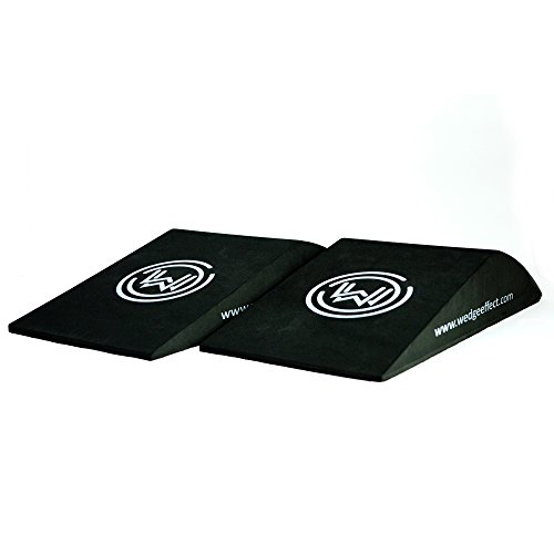 Workout Wedge - Non-Slip Incline Exercise Wedge / Block for Support and Deeper Stretches, Improve Strength and Aid Balance and Flexibility, Black, Set Of 2 by Wedge Effect