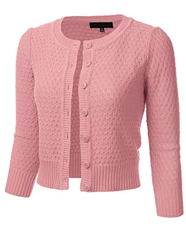 FLORIA Women's Button Down 3/4 Sleeve Crew Neck Cotton Knit Cropped Cardigan Sweater LIGHTPINK S - Neck Cropped Cardigan