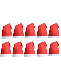 10 Pcs Christmas Santa Claus Hats Classic Red Cap for Adult Kids Xmas Party
