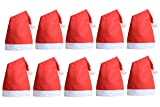QBSM 10 pcs Christmas Santa Claus Hats Classic Red Cap for Adult Kids Xmas Party