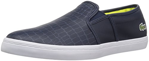 Lacoste Women's Gazon Slip-Ons,Nvy/Fluro Ylw Leather,10 M US