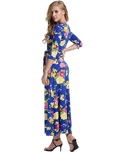 Largo Meaneor Fiesta Bleu Cuello 3 Floral Noche Vestido Elegante 4 V Casual Foncé Manga Mujeres FHnw7BxqFU