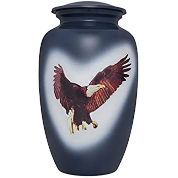 Liliane Memorials Blue American Bald Eagle Funeral Cremation Urn Patriotic Audaz Model in Aluminum for Human Ashes Suitable for Cemetery Burial Fits Remains of Adults up to 200 lbs, Large 200 lb,