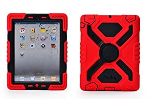 Pepkoo Ipad Mini 1& 2 Case Plastic Kid Proof Extreme Duty Dual Protective Back Cover with Kickstand and Sticker for Ipad Mini 1&2 - Rainproof Sandproof Dust-proof Shockproof (Red/black) by pepkoo