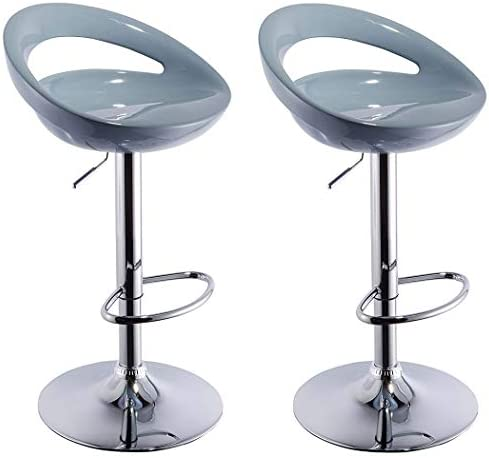 Duhome 2 PCS Swizzle Gloss Finish Crescent Shape Adjustable Swivel Bar Stools Kitchen Counter Top Grey