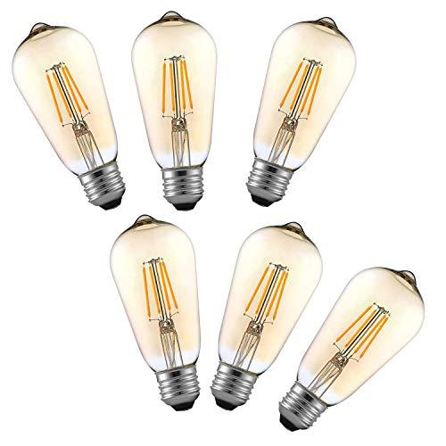 Tememdy LED Edison Bulb,Antique 4W Vintage Edison Bulb,E26/E27 ST58 Dimmable Led Bulb 450 Lumens,Pack of 6