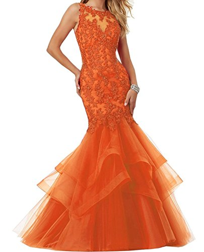Ellenhouse Mermaid Women's Long Party Evening Dresses Prom EL189 Tulle Orange Applique rrBaxC