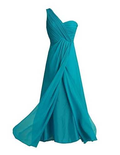 Homecoming Teal Dress (TiaoBug Women's Chiffon One-Shoulder Split Slit Bridesmaid Dress Evening Gowns Teal 4)