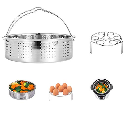 HapWay Stainless Steel Steamer Basket with Egg Steam Rack Trivet Compatible Instant Pot 5,6,8 qt Electric Pressure Cooker