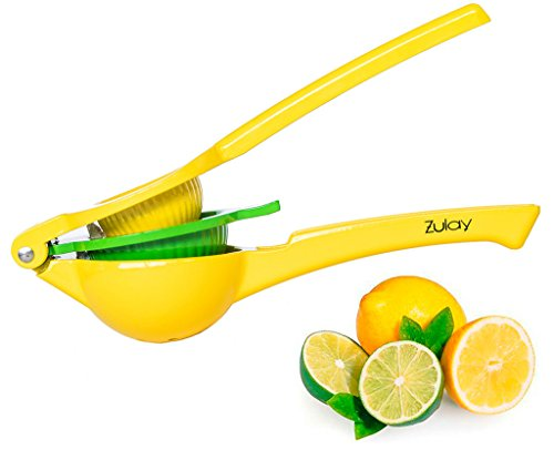 Top Rated Zulay Premium Quality Metal Lemon Lime Squeezer - Manual Citrus Press (Ceramic Lemon)