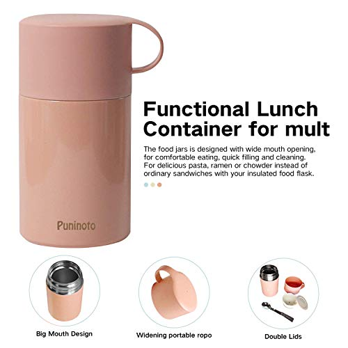 Insulated Food Jar for Kids,20 Oz Stainless Steel Lunch container with Spoon,Vacuum Hot & Cold Leak Proof Lunch Box for School Office Picnic Travel Outdoors,BPA Free(Pink)
