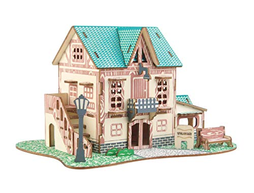 Aryellys Natural Wood 3D Puzzle Tiny House Collection Wooden Jigsaw Craft Building Set (Starry Sky Inn)
