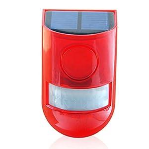 Solar Strobe Light, Solar Sound and Light Alarm Motion Sensor 110 Decibels 6LEDs Sound Security Siren Light for Farm…