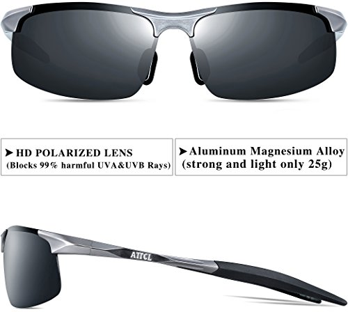 097a96cf2a ATTCL Men s HOT Fashion Driving Polarized Sunglasses for Men Al-Mg Metal  Frame Ultra Light A-Grey 8177  Amazon.co.uk  Clothing