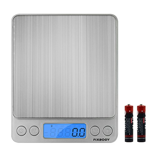 Super Precision Focusing Screen - FIXBODY Digital Kitchen Scale, 3000g 0.0035oz/0.1g Pocket Cooking Scale, Mini Food Scale,Jewelry Scale Stainless Steel, (Batteries Included)