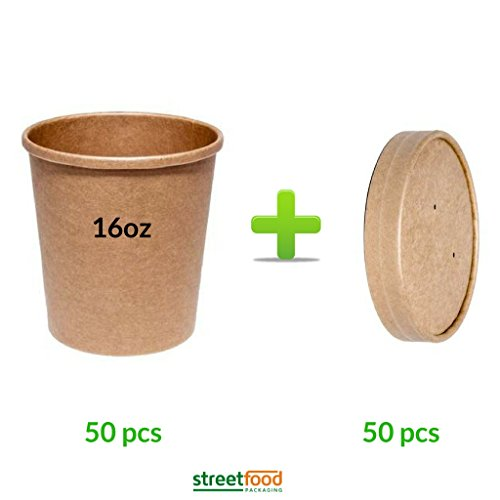 Soup Container | 16oz Brown Takeaway Paper Soup Container With Brown Vented...