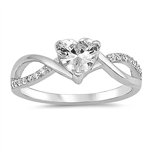 (White CZ Heart Twist Infinity Purity Ring .925 Sterling Silver Band Size 6 )