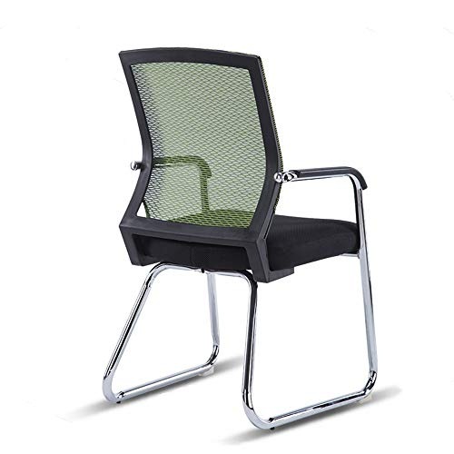ZAYZY XRXY Office Chair, Backrest Chair, Dorm Room Bow Shaped Office Chair, Net Chair Mahjong Seat, Stitching Color, Casual Computer Chair, 8 Colors Task Chair (Color : Green, Size : Black Frame)