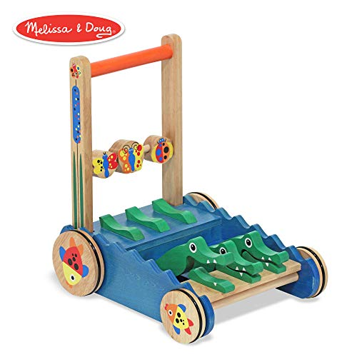 (Melissa & Doug Chomp & Clack Alligator Push Toy, Wooden Activity Walker, Sturdy Construction, Makes Sounds When Pushed, 11.75″ H × 15″ W × 15″ L )