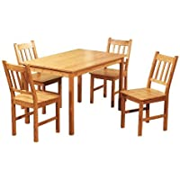 Target Marketing Systems 5 Piece Bamboo Indoor Dining Set with 1 Bamboo Table and 4 Bamboo Chairs, Natural