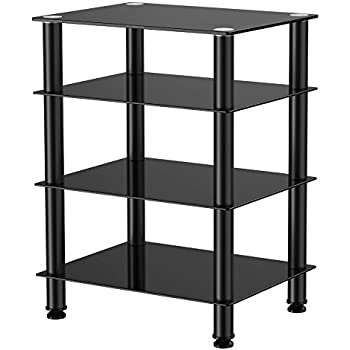 Fitueyes 4-tier Media Stand Audio/Video Component Cabinet with Glass Shelf for /Apple Tv/xbox One/ps4 AS406001GB
