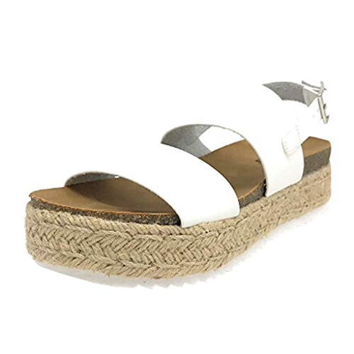 Women's High Flatform Sandals, Summer Rubber Sole Buckle Ankle Strap Sandals Casual Open Toe Beach Wedge Sandals (White, US:8)