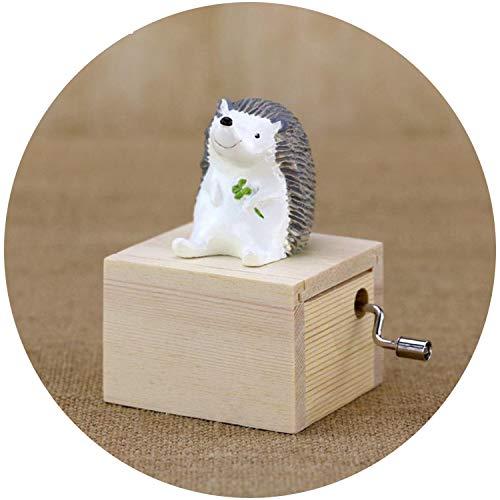 (Pumpkin-Kaariage Home Decor Cute Mini Animal Wooden Hand Cranked Music Boxes Creative Unique Artware Gift Wooden Music Box,Light Grey)