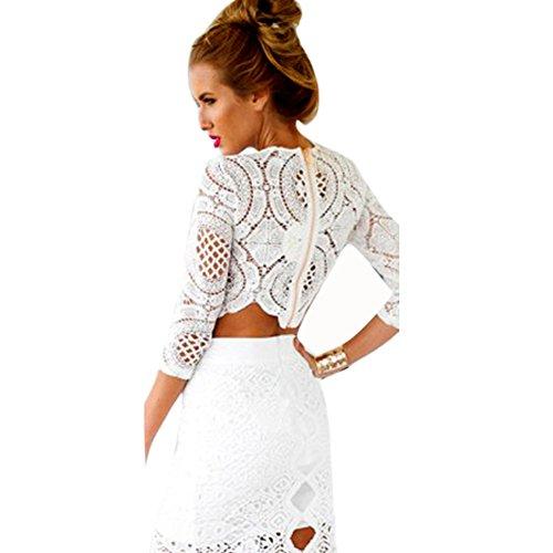 afaaac1136072 Froomer Women Sexy Lace Hollow Crop Tops Long Sleeve Zipper Blouse ...