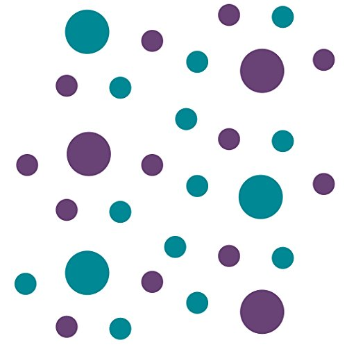 Set of 30 - Circles Polka Dots Vinyl Wall Graphic Decals Stickers (Purple/Turquoise)