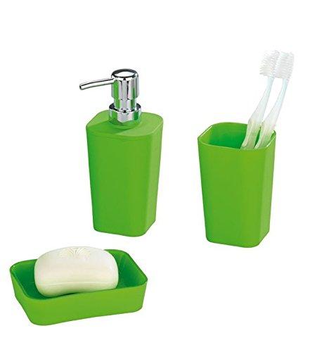 WENKO Bad Accessoire Set Rainbow Green Seifenspender Seifenschale /& Zahnputzbecher