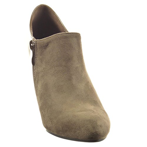 Sopily - Scarpe da Moda Stivaletti - Scarponcini low boots alla caviglia donna gioielli verniciato Tacco Stiletto tacco alto 8 CM - Taupe