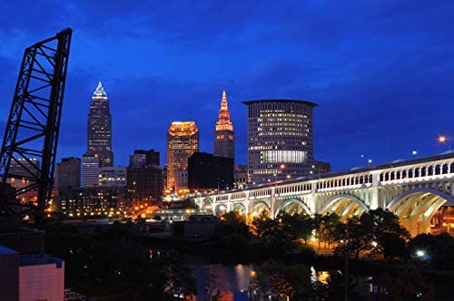 Cleveland Ohio Blue And Orange Cleveland Skyline At Night Photograp A 92989 16x24 Fine Art Giclee Gallery Print Home Wall Decor Artwork Poster Posters Prints