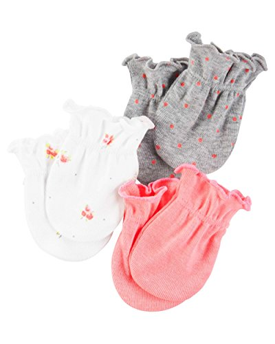 Polka Dots Mittens - Carters Unisex Baby Mittens (Baby) - Pink/Grey Polka Dots- 0-3M