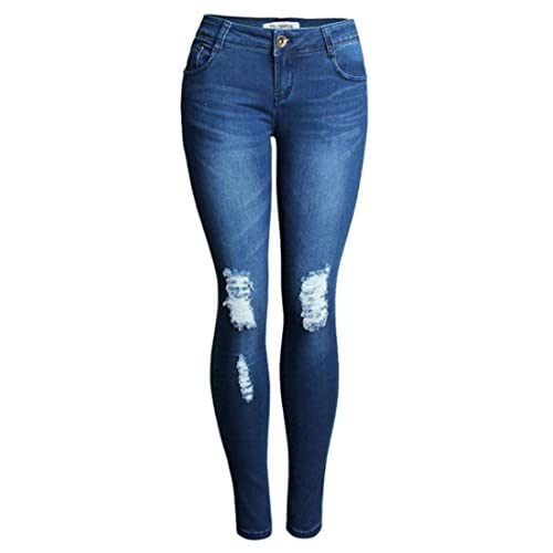 Discount Cruiize Womens Slim Stretch Denim Hole Pencil Casual Skinny Pant Jeans free shipping