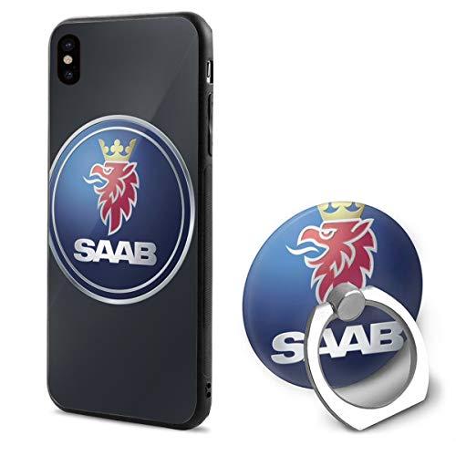 BAIXRU Fashion General Motors Saab Logo iPhone X Mobile Phone Shell Ring Bracket White 48