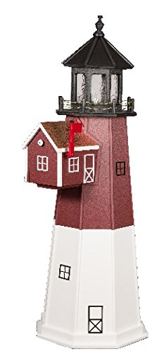 6' Poly Lighthouse Mailbox (Barn Red & White)
