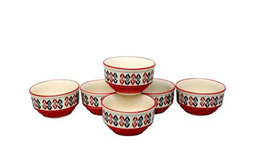 Stonish Ceramic/Handmade katori Bowl  Set of 6  in Orange and White Colour in Chevron Pattern