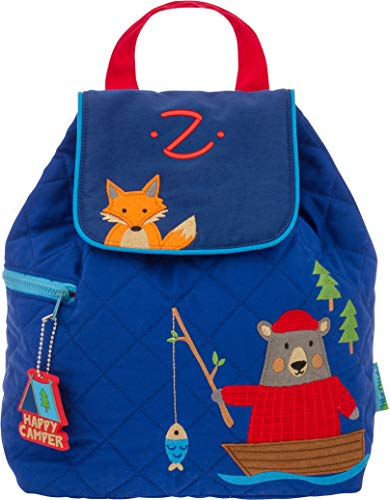 (Monogrammed Me Quilted Backpack, Blue Bear and Fox, with Embroidered Kids Initial Z)